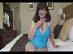 Attractive big tits mature nipper in tight swimsuit bringing off exceeding fitness cut a rug