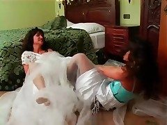 Brides have a catfight in the assembly room