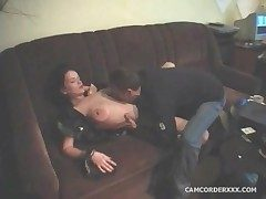 He fools around with broad in the beam tits amateur brunette