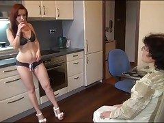 Young chick beside sexy panties strapon fucks grandma