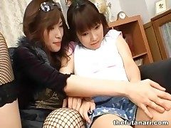 Doll with respect to fishnets makes out with Japanese dickgirl