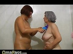 Plus-size gray chubby Granny with old Mature woman in tub