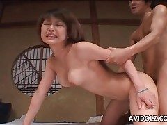 Rock hard Chinese doggystyle drilling with creampie