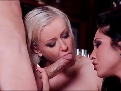 Blonde and brunette crew up to deep-throat his dick