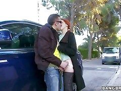 sumptuous redhead Amarna Miller gets her gullet attacked by rock