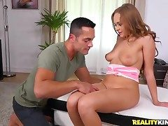 Brunette Katarina Mutti fingered and poked by a gigantic man rod