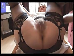 Fur covered busty mature female in slide and girdle does upskirt and