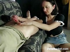 MILF wifey gives great handjobs