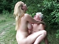 Congenital huge titted breezy pulverizes granddad in the woods