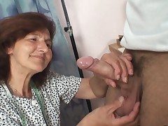 Sewing old gals gulps customer's fuckpole