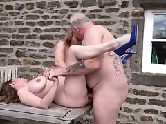 2 busty mature cougars fucked outdoors